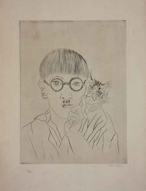 Self Portrait with Cat on Shoulder