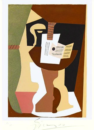 (After Picasso) Guitare et partition sur gueridon