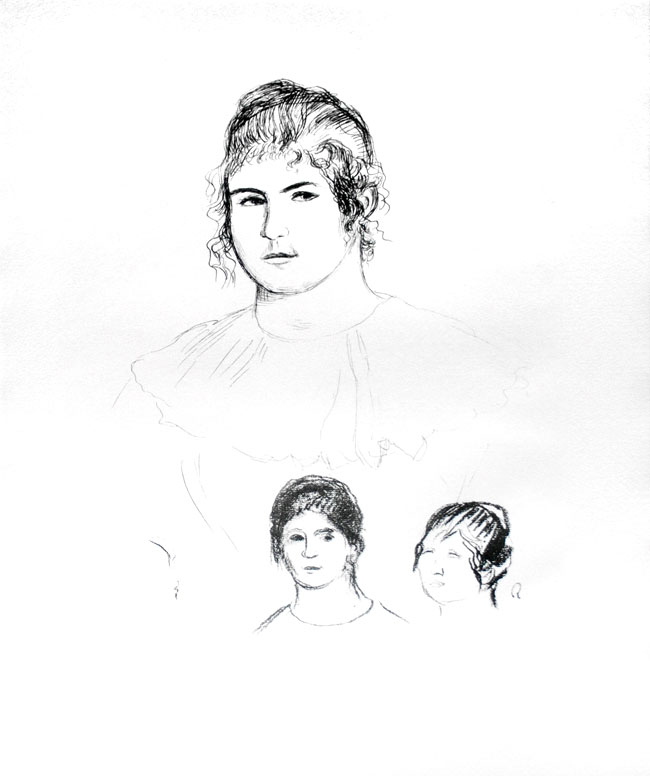 Jeune fille en buste et etudes de têtes (ou Gabrielle) [Three Sketches of Faces, Gabrielle]