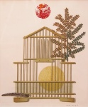 Bird cage, feather, branch and sun - click to enlarge