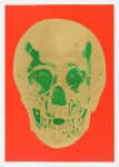Time Bright Orange African Gold Emerald Green Pop Up Skull - click to enlarge