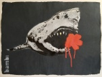 Gold Tooth Shark With Poppy Red Flower Power - click to enlarge