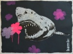 Gold Tooth Shark With Pink And Purple Flower Power - click to enlarge